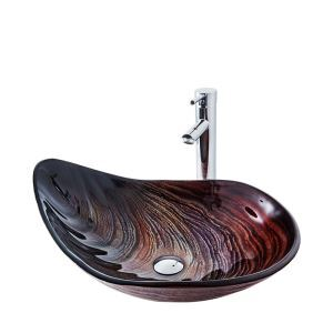 Irregular Tempered Glass Sink and Faucet Set Bathroom Countertop Vessel Sink Tap BWY19-192