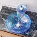 Round Sink and Faucet Set Tempered Glass Bathroom Countertop Waterfall Vessel Sink Tap BWY19-146