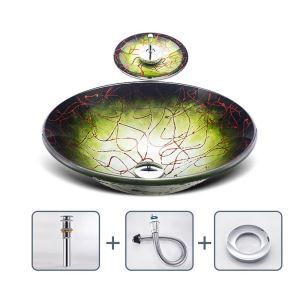 Striped Gradient Sink and Faucet Set Tempered Glass Bathroom Countertop Waterfall Vessel Sink Tap BW14158
