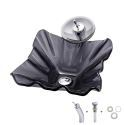 Irregular Grey Sink and Faucet Set Tempered Glass Bathroom Countertop Waterfall Vessel Sink Tap BWY19-076