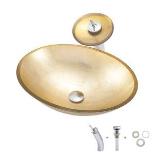Basin Sink and Faucet Set Gold Ingot Shape Tempered Glass Bathroom Countertop Waterfall Vessel Sink Tap BWY19-107
