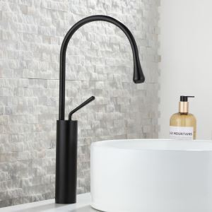 Water Drop Bathroom Sink Faucet Curved Single Handle Basin Tap Black/White/Gold