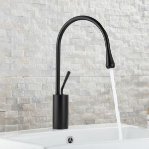 Water Drop Shape Bathroom Sink Faucet Single Handle Basin Tap Black/White/Gold