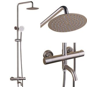 Brushed Nickel Thermostatic Shower Faucet Stainless Steel Shower System with Tub Spout