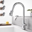 Swivel Nozzle Kitchen Faucet Rotatable Three Functions Spray Head Tap Chrome/Black Colors Optional