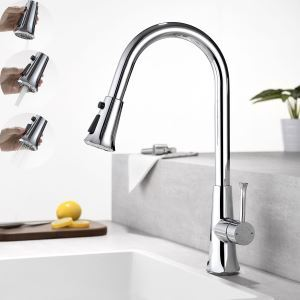 Pull Out Kitchen Faucet Rotatable Three Functions Spray Head Tap Chrome/Black/Nickel Brushed/ORB Four Colors Optional