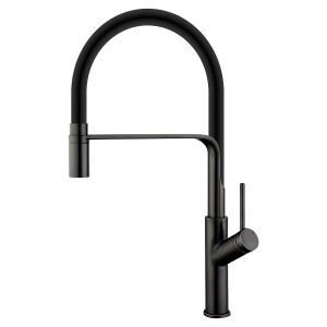 Swivel Kitchen Sink Faucet Brass Spray Head Rubber Hose Tap Black/Blue/White Optional(ORB Faucet Body)