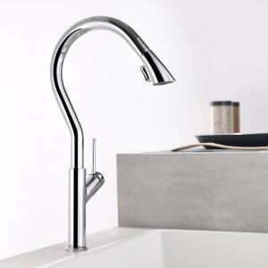 Pull Out Kitchen Faucet Rotatable Tap Double Functions Spray Head Faucet Chrome/Black/Nickel Brushed Color Optional