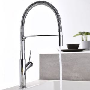 Swivel Kitchen Sink Faucet Brass Spray Head Spring Hose Tap Chrome/Black/Nickel Brushed/ORB Four Colors Optional