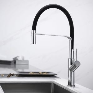 Swivel Kitchen Sink Faucet Brass Spray Head Rubber Hose Tap Black/Blue/White Optional(Chrome Faucet Body)