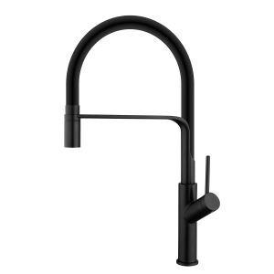 Swivel Kitchen Sink Faucet Brass Spray Head Rubber Hose Tap Black/Blue/White Optional(Black Faucet Body)