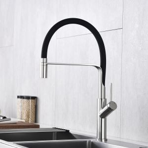 Swivel Kitchen Sink Faucet Brass Spray Head Rubber Hose Tap Black/Blue/White Optional(Nickel Brushed Faucet Body)