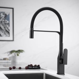 Swivel Kitchen Sink Faucet Brass Spray Head Rubber Hose Tap Black/Blue/White Optional(Black Square Faucet Body)
