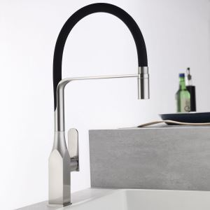 Swivel Kitchen Sink Faucet Brass Spray Head Rubber Hose Tap Black/Blue/White Optional(Nickel Brushed Square Faucet Body)