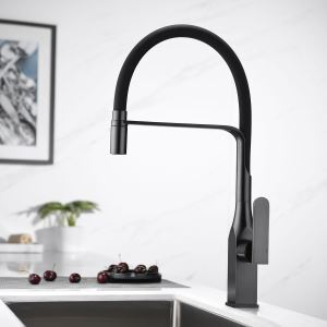Swivel Kitchen Sink Faucet Brass Spray Head Rubber Hose Tap Black/Blue/White Optional(ORB Square Faucet Body)