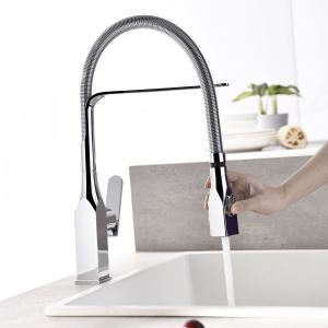 Rotatable Kitchen Faucet Double Functions Spray Head Spring Hose Tap Chrome/Black/Nickel Brushed/ORB Four Colors Optional
