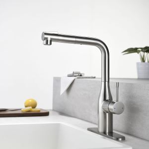 Nickel Brushed Pull Out Kitchen Faucet Double Functions Spray Head Tap Chrome/Black Color Optional