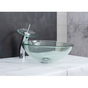 Clear Tempered Glass Wash Basin With Waterfall Faucet