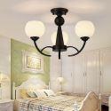 Nordic Iron Pendant Light Glass Lampshade Chandelier Study Bedroom 1833