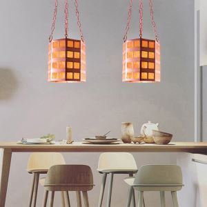Cylindrical Modern Pendant Light with Natural Leaves in Shade