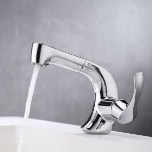 Pull Out Bathroom Sink Faucet Double Functions Spray Head Tap Chrome/Black Color OPtional