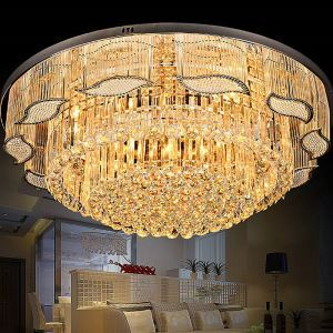Crystal Ceiling Light Contemporary Simple Round Flush Mount Light Fixture Dining Room Living Room