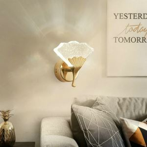 Nordic LED Wall Light Crystal Bubble Wall Sconce Ginkgo Leaf Lamp Hallway Living Room Light QM6001