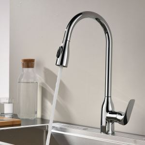 Chrome Pull Out Kitchen Faucet Double Functions Spray Head Swivel Tap