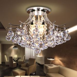 (For Sale) Chrome Modern Crystal Chandelier 3-Light Ceiling Light