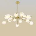 Nordic Simple Chandelier Frosted Spray Painting Pendant Light Golden Fixture Glass Shade Pendant Light