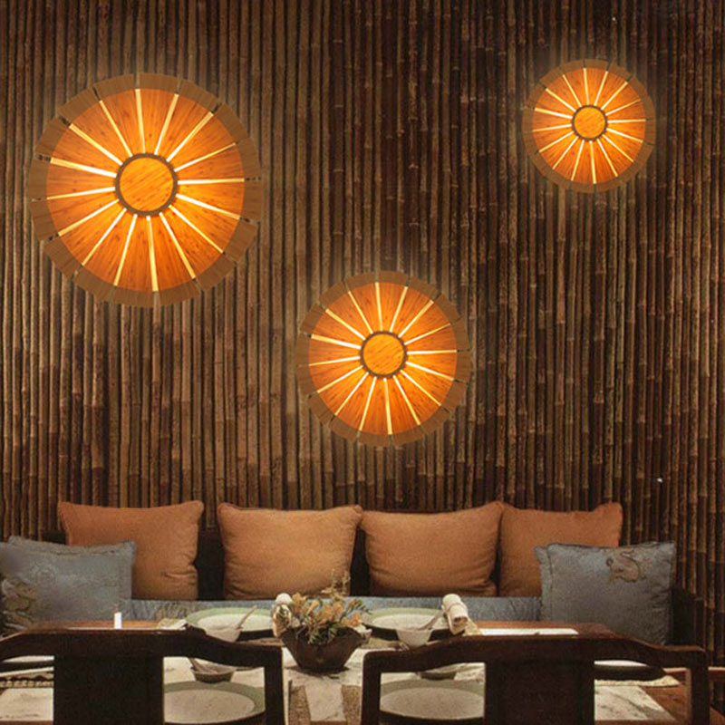Round Flower Wall Sconce Unique Bamboo Wall Light Creative Decorative Lighting