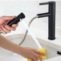 Pull-Out Sprayer Sink Faucet Matt Black Basin Laundry Mixer Tap