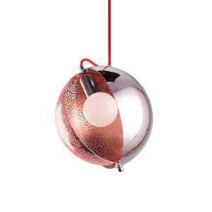 Modern Rose Gold Pendant Light Half Round Glass Lamp Shade Decorative Light Office Cafe