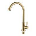 Brushed Gold Kitchen Tap Stainless Steel Kitchen Sink Faucet  with Swivel Nozzle 360° Rotatable Spout