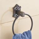European Style Copper Towel Ring Retro Carving Black Towel Ring Holder BL-C6005F