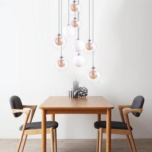 Modern LED Glass Pendant Light Gold Nickel Brushed+Milky Glass Lampshade Living Room Cafe