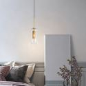 Nordic Clear Glass Pendant Light Unique Inner Brass Hollow out Pendant Light Bedroom Living Room CD2236
