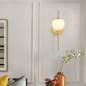 Nordic Brass Wall Lamp Glass Lampshade Single Head Sconce Bedroom Living Room B5521