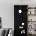 Nordic Brass Pendant Light Glass Lamp Shade Lamp Bedroom Living Room CD2208