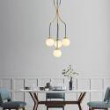 Nordic Brass Cluster Chandelier Pendant Light Creative Magic Bean Glass Lamp Living Room Duplex Stair D031