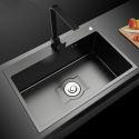 Black Nano Stainless Steel Sink Single Bowl 201 Thicken Kitchen Sink