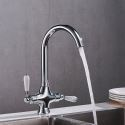 Rotatable Brass Kitchen Sink Faucet Dual Handles 360 Degree Rotation Tap Chrome / Black