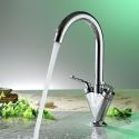 Rotatable Brass Kitchen Sink Faucet Dual Handles 360 Degree Rotation Tap