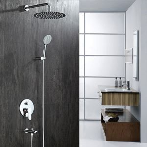 Concealed Shower Mixer Tap Modern Rain Head Shower System with Hand Sprayer and Tub Spout 8 Inches / 10 Inches / 12 Inches Optionals