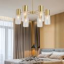 Nordic Brass Pendant Lamp Clear Glass Lampshade Living Room Study Light Fixture D055