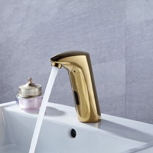 Gold No Touch Bathroom Faucet Infrared Motion Sensor Smart Water Saver Tap