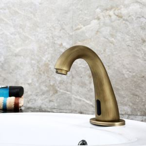 Antique Brass Smart Basin Tap Infrared Motion Sensor Water Faucet for Bathroom Water Saver