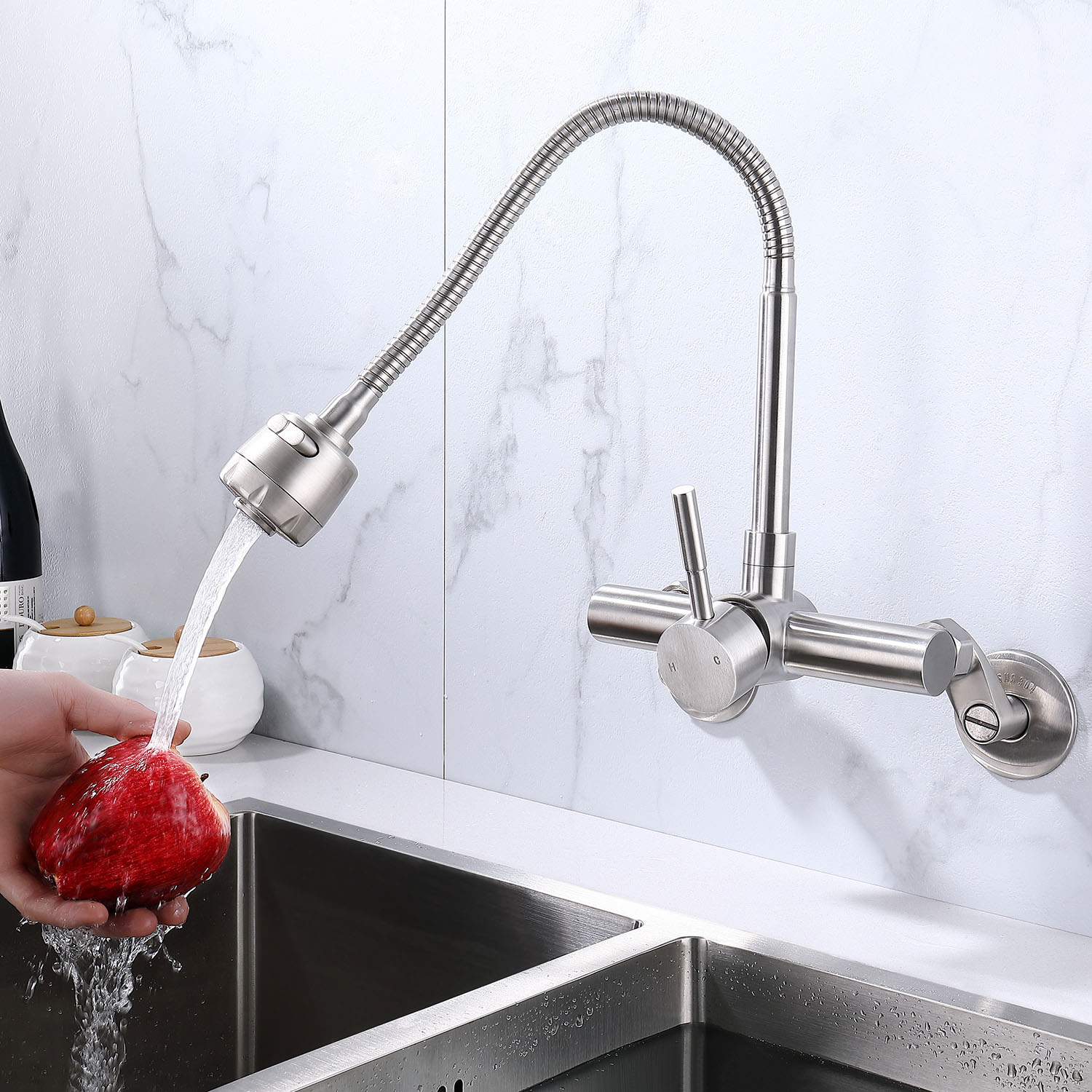 Wall Mounted Stainless Steel Mixer Tap Kitchen Sink Faucet