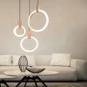 Modern LED Ring Pendant Light Simple Acrylic Three Lights Bedroom Living Room QM-88231-3