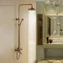 Antique Brass Tub Shower Faucet with 8 inch Shower Head + Hand Shower